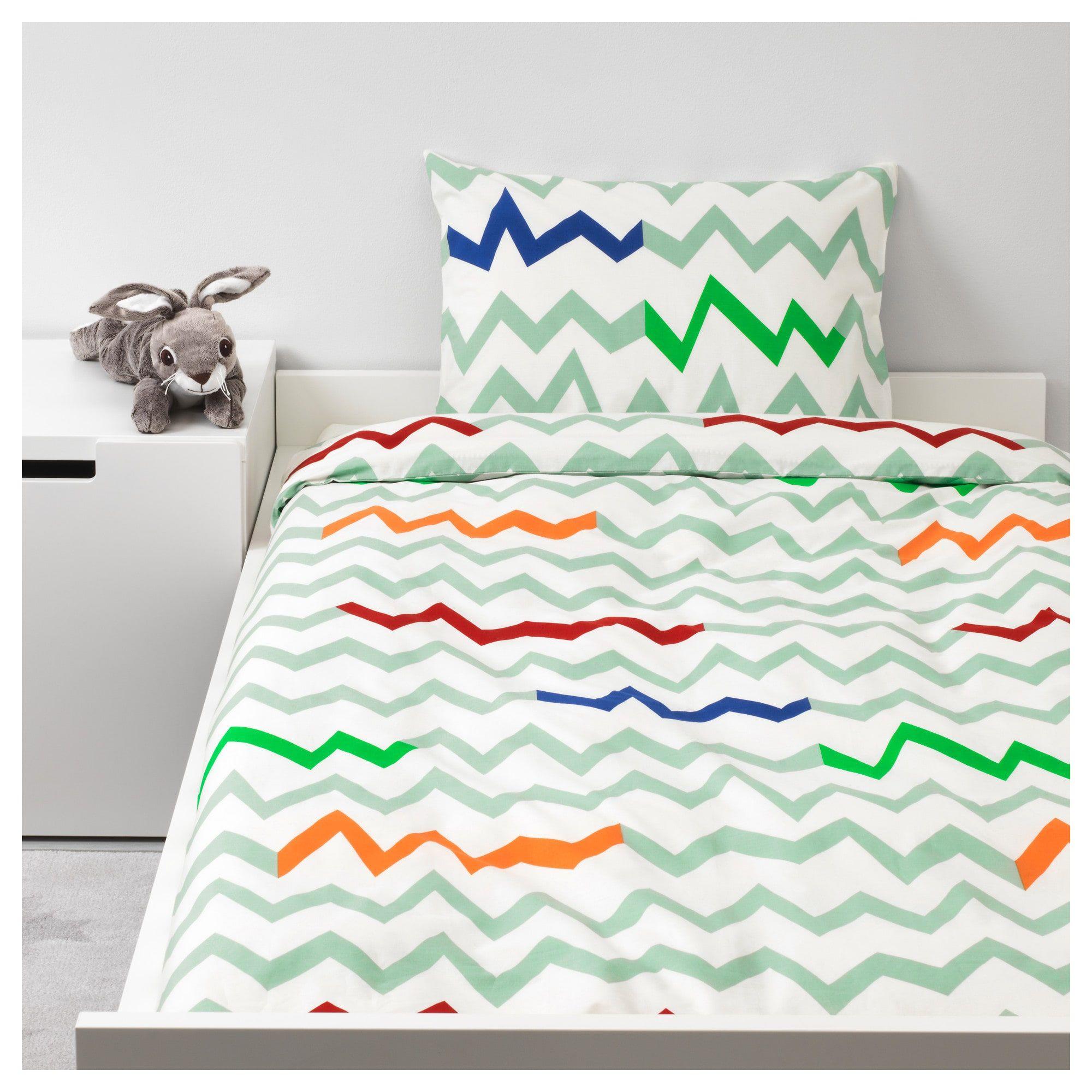 Ikea Stillsamt Light Green Multicolor Duvet Cover And Pillowcase S Duvet Covers Green Duvet Covers Quilt Cover