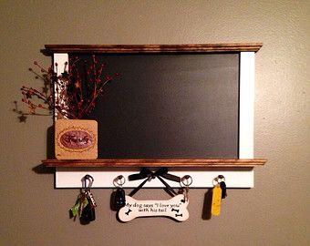 Framed Kitchen Chalkboard With Shelf And Key Hanger Holder
