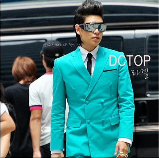 T.O.P in a blue suit