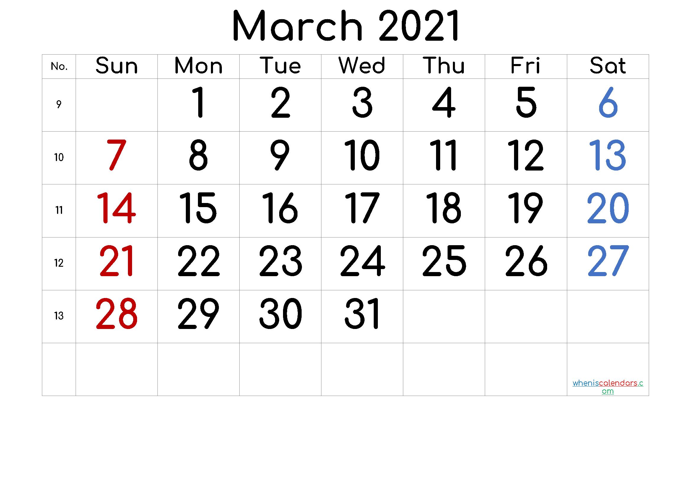 2021 Calendar With Week Number Printable Free - 2021 Free ...