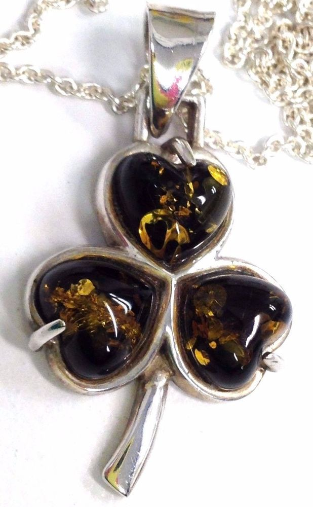 a95a8f9c2fa16 STERLING SILVER GREEN AMBER CLOVER ST PATRICK'S DAY PENDANT NECKLACE ...