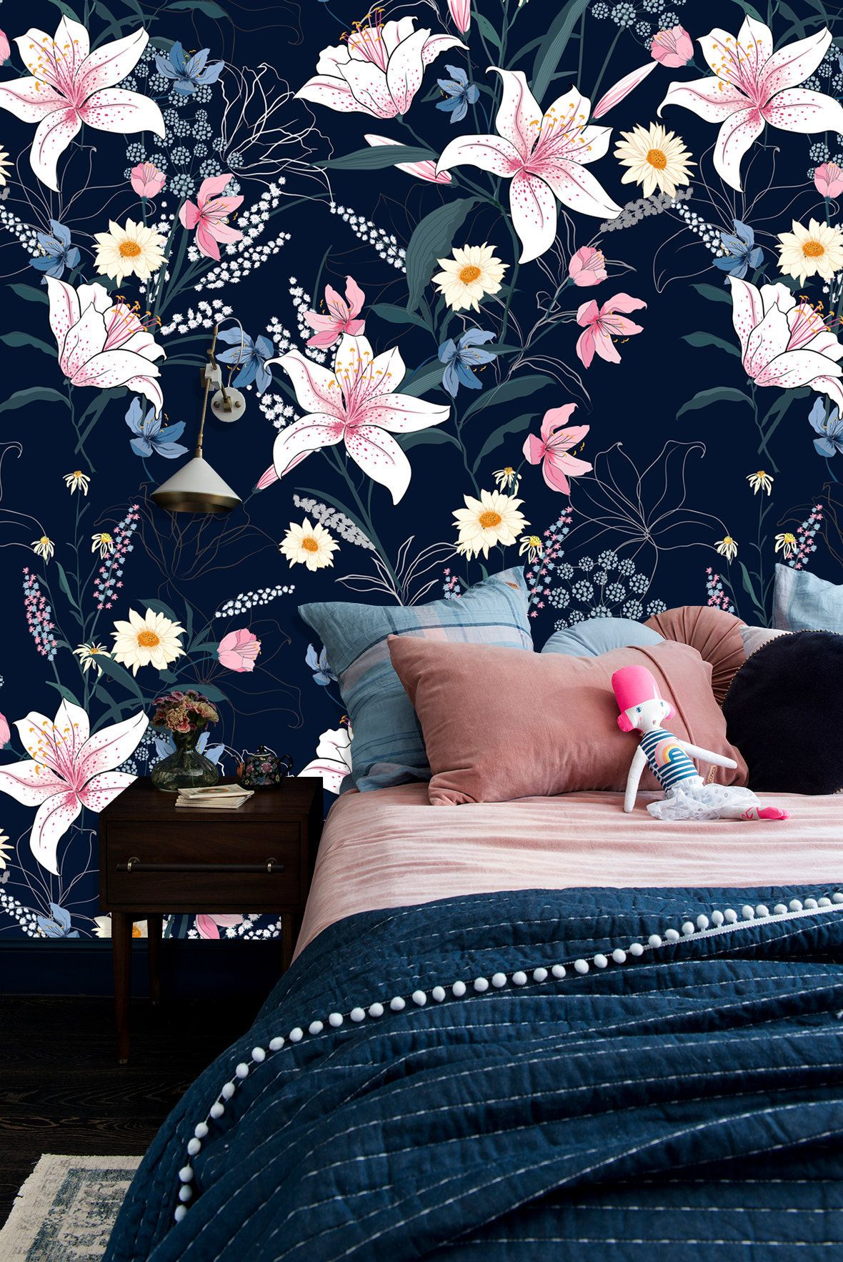Pink Lily Flowers on Dark Blue Background Wall Mural
