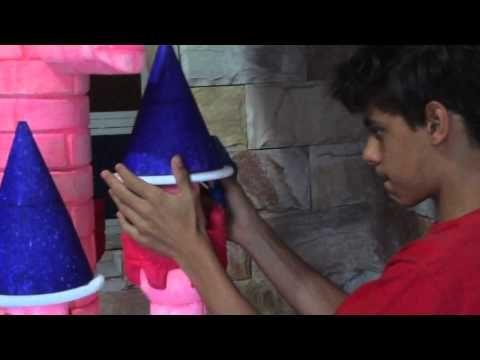 Castelo de Princesa - colando torres de isopor - YouTube