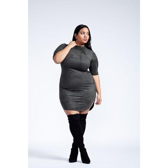 plus size faux suede green dress poshtiqe code