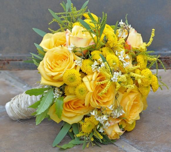 Rustic Yellow Bouquet Roses Button Mums Honeysuckle Acacia Yellow Wedding Flowers Yellow Bouquets Yellow Bridal Bouquets