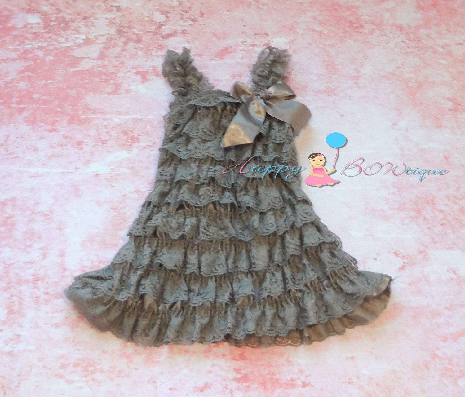 baby girls dress Vintage Grey Lace Dress ruffle by HappyBOWtique