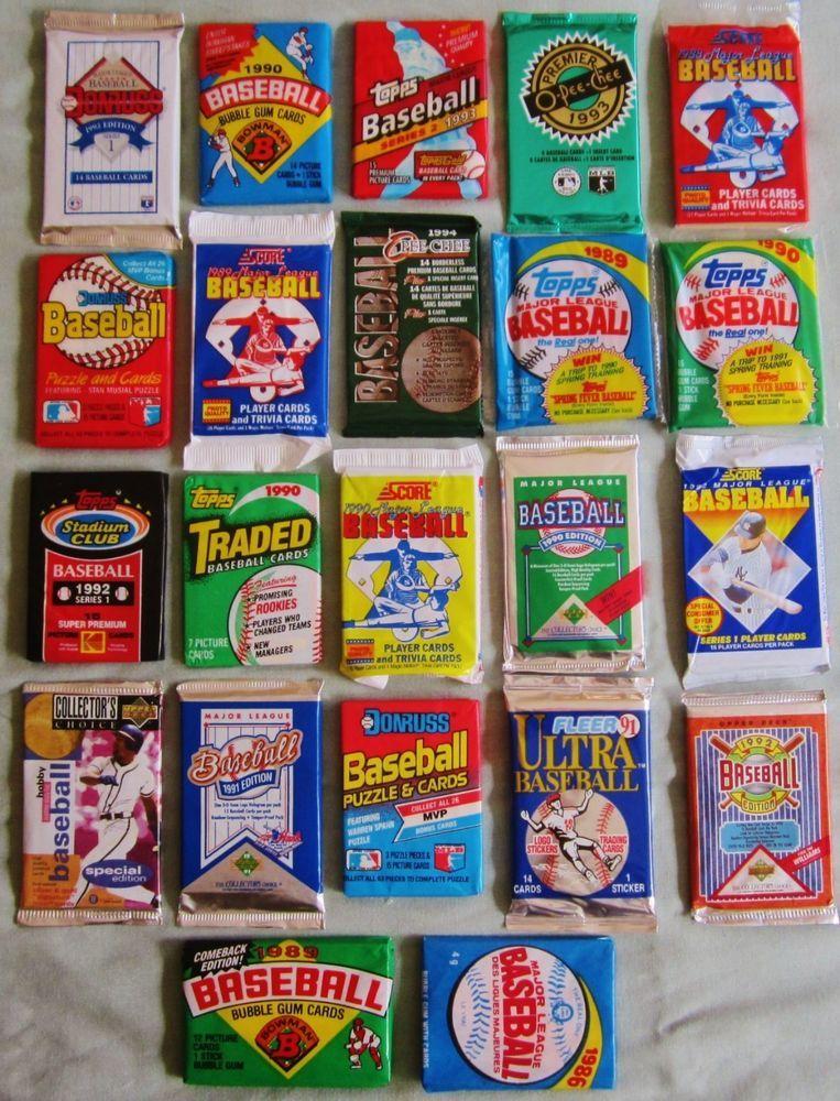 Huge lot of 300 old vintage Baseball Cards in Unopened Packs.