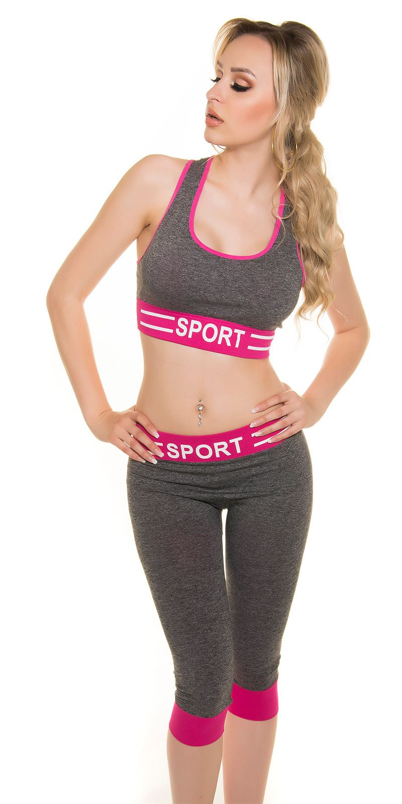 ENSEMBLE SPORT FASHION ÉTÉ FITNESS YOGA LEGGING + TOP NOIR FUCHSIA T.U. 34/36/38 - ENSEMBLE SPORT FASHION NOIR chiné /FUCHSIA - Legging 3/4 + Top brassière