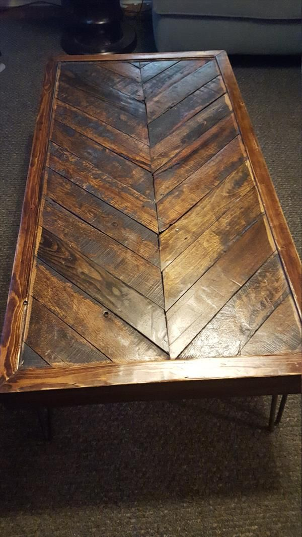 Pallet Coffee Table With Rebar Legs Pallet Furniture Diy