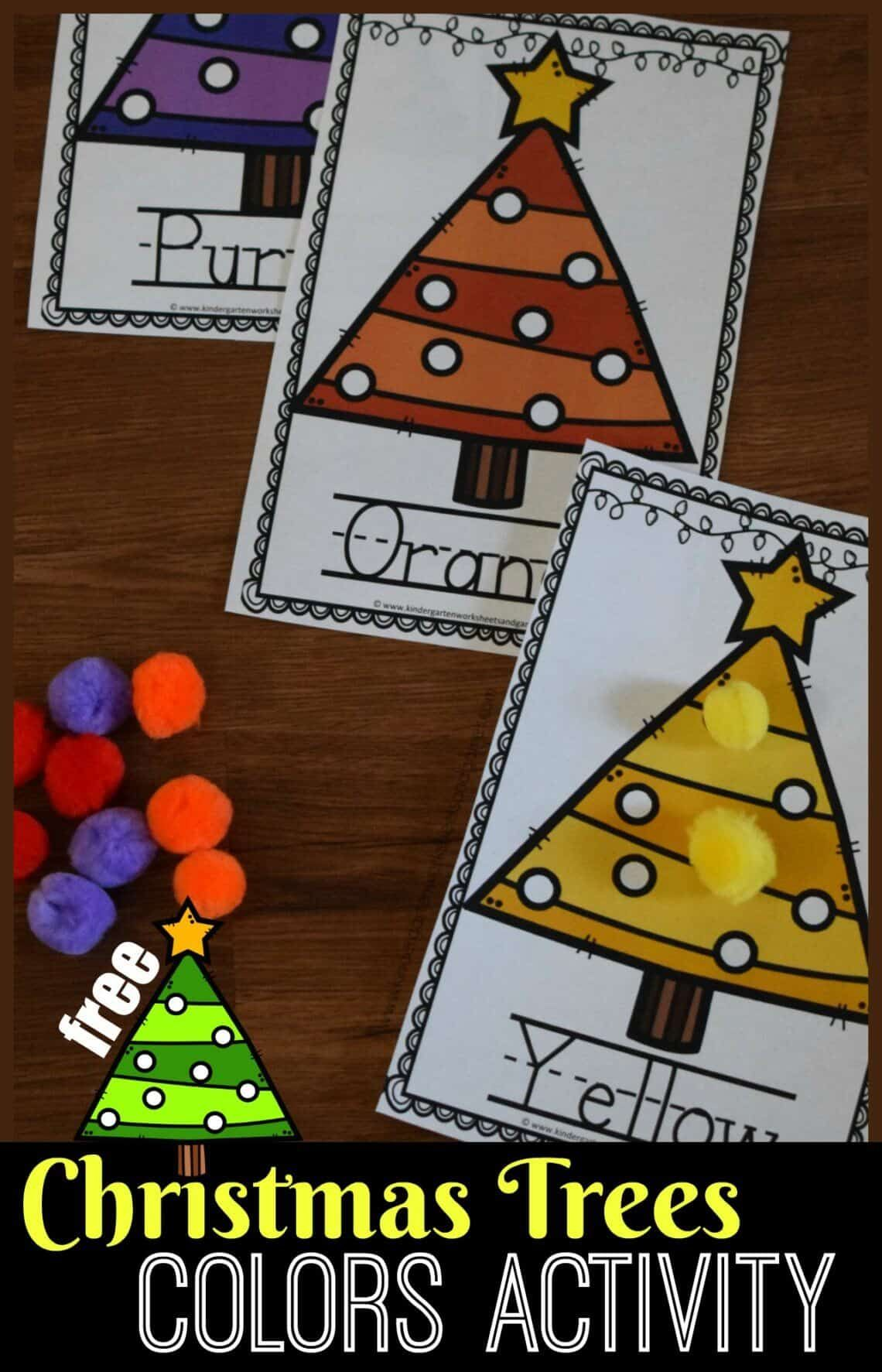 Free Christmas Tree Colors Activity