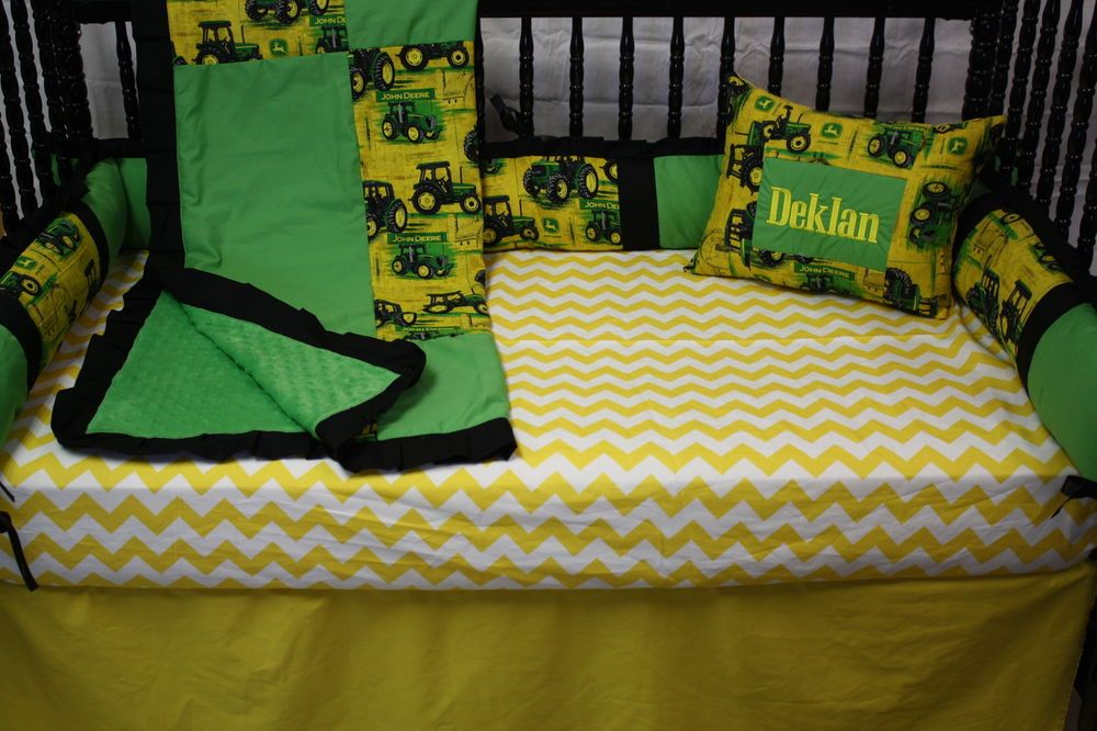 5 pc Tractor John Deere  Baby bedding - free personalized pillow