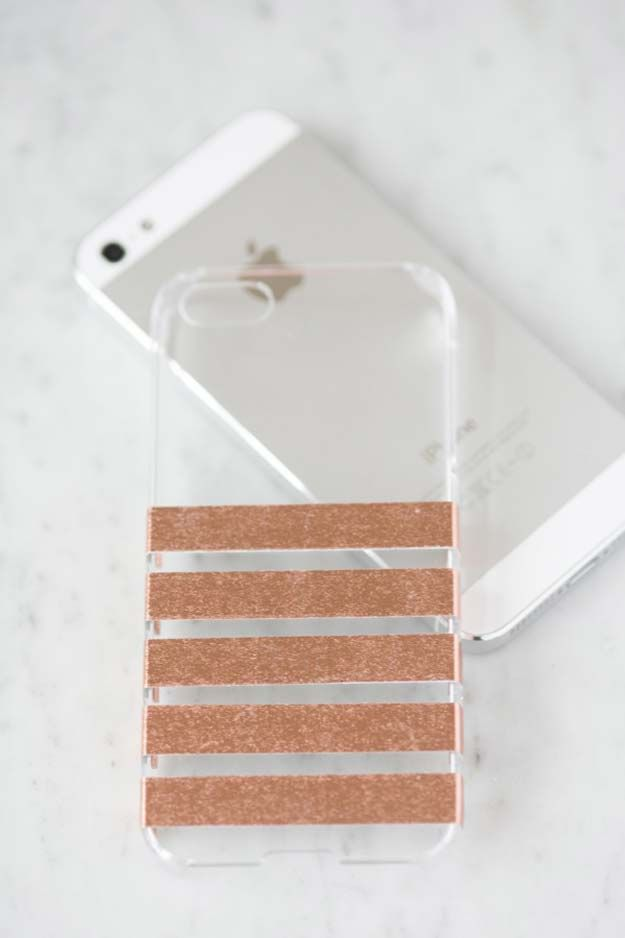 DIY iPhone Case Makeovers - Foil Stripped iPhone Case - Easy DIY Projects and Handmade Crafts Tutorial Ideas You Can Make To Decorate Your Phone With Glitter, Nail Polish, Sharpie, Paint, Bling, Printables and Sewing Patterns - Fun DIY Ideas for Women, Teens, Tweens and Kids