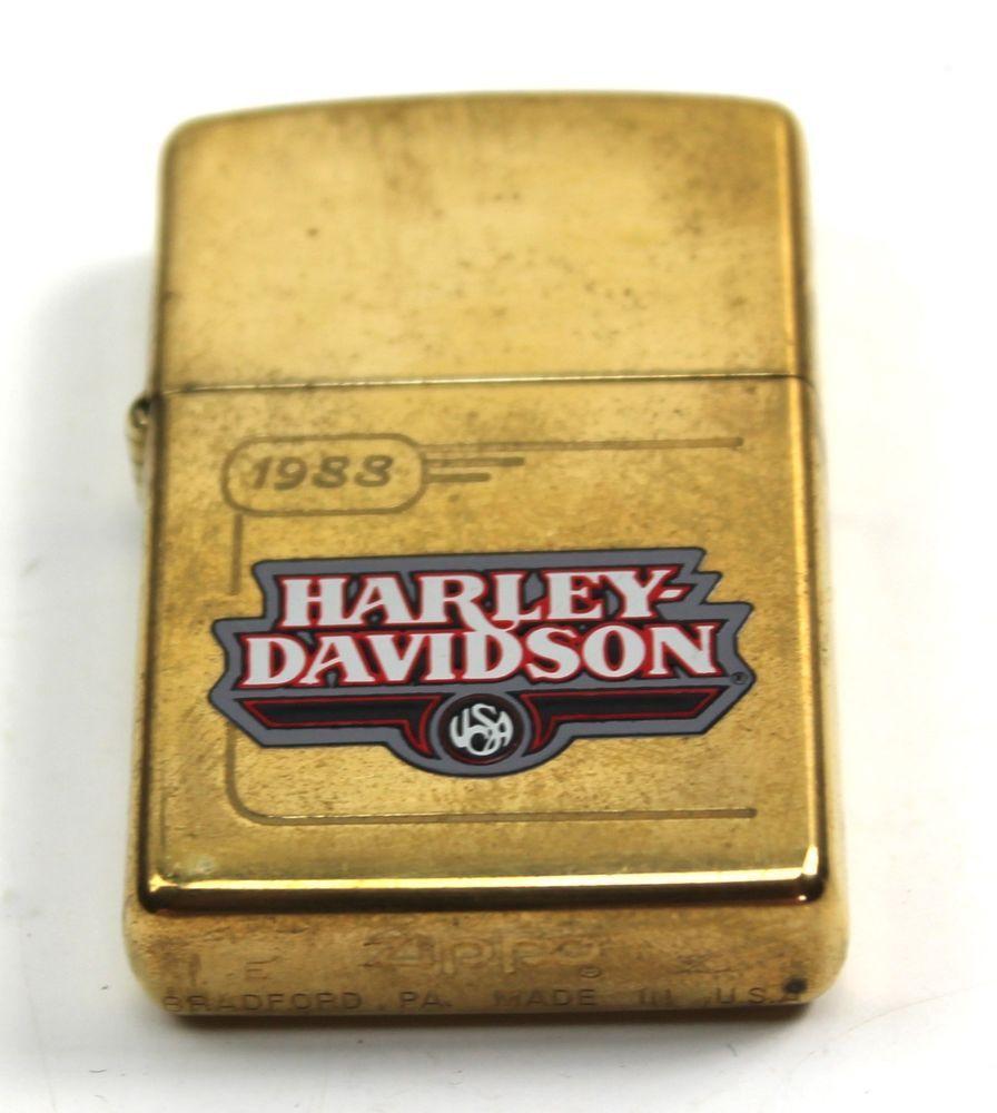 Vintage Harley Davidson 1988 Tank Design Brass Zippo Lighter Box 99194 96z Zippo Collection Zippo Harley Davidson Zippo