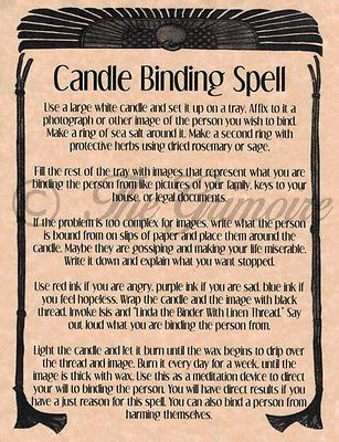 Candle Binding Spell, Book of Shadows Page, Rare Wiccan