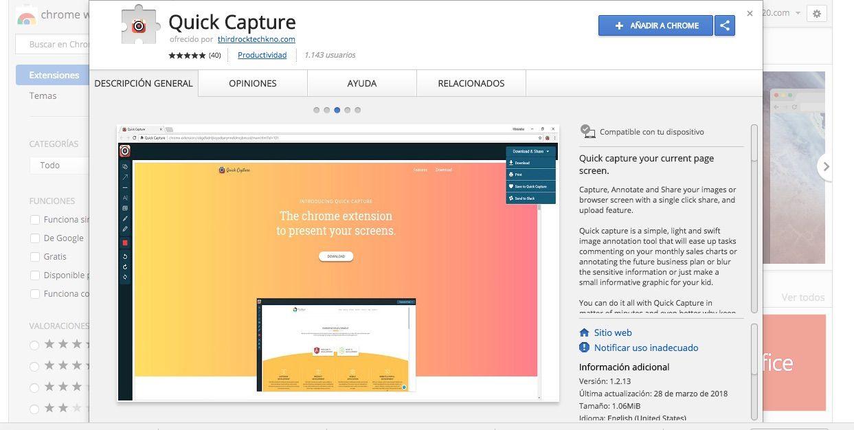 Quick Capture es una sencilla extensión que te permite