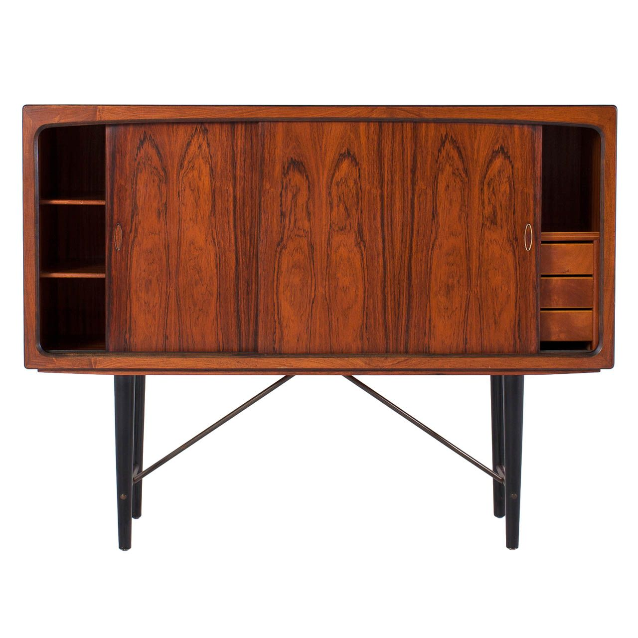 Danish Rosewood Storage Console With Sliding Doors And Copper Details