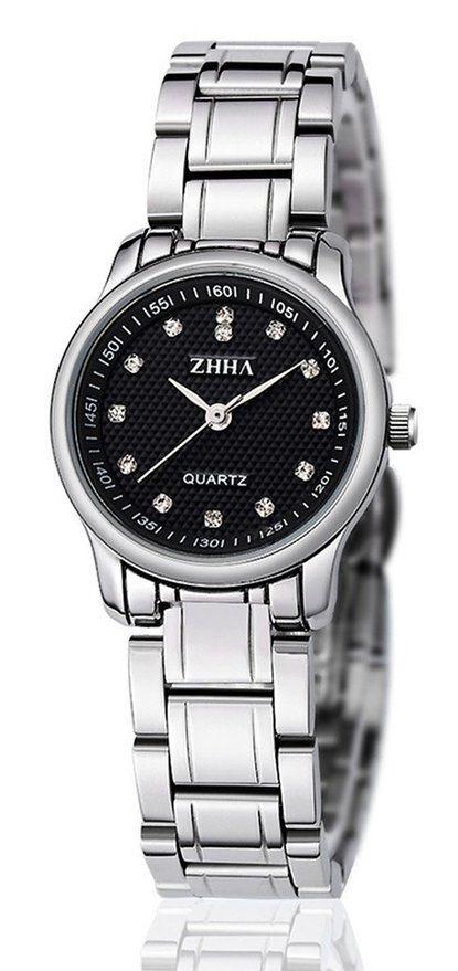 ZHHA Women's Watches 001 Quartz Black Dial Silver Stainless Steel Bracelet Wrist Watch Waterproof