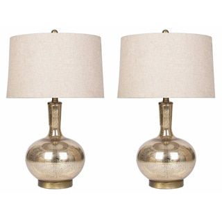 Modern Country Shop For Abbyson Gold Mercury Glass Table Lamp Set