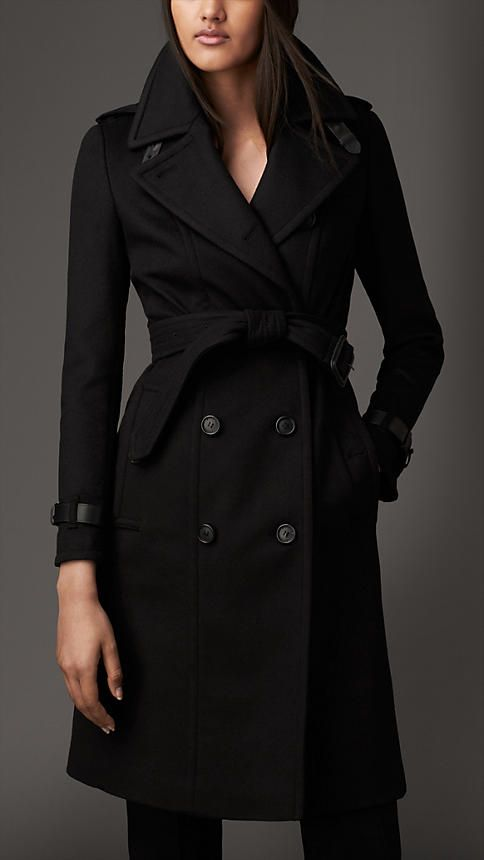 Leather Trim Wool Cashmere Trench Coat | Burberry London