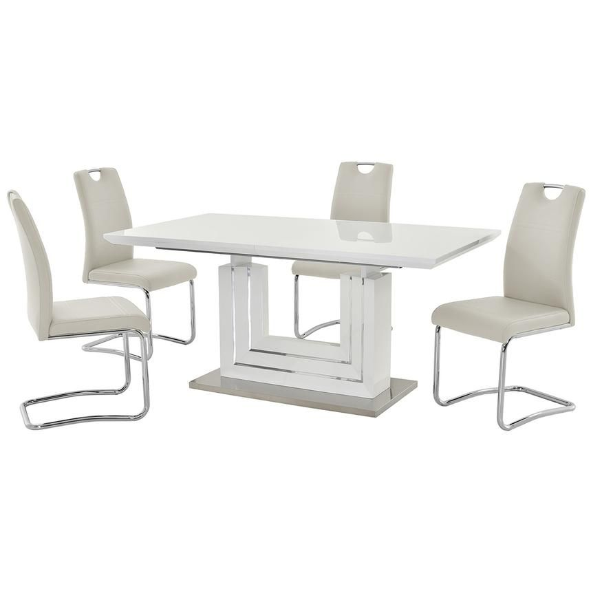 Lila White 5 Piece Casual Dining Set Casual Dining Set Dining