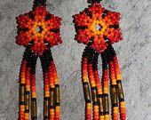 Huichol Peyote Beaded Earrings U-1 por HuicholArte en Etsy