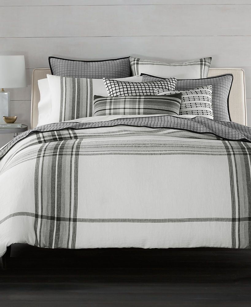 Details about Hotel Collection 100 Linen Plaid Multi Full