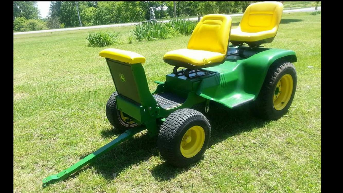 Custom passenger cart made from the remains of a John Deere