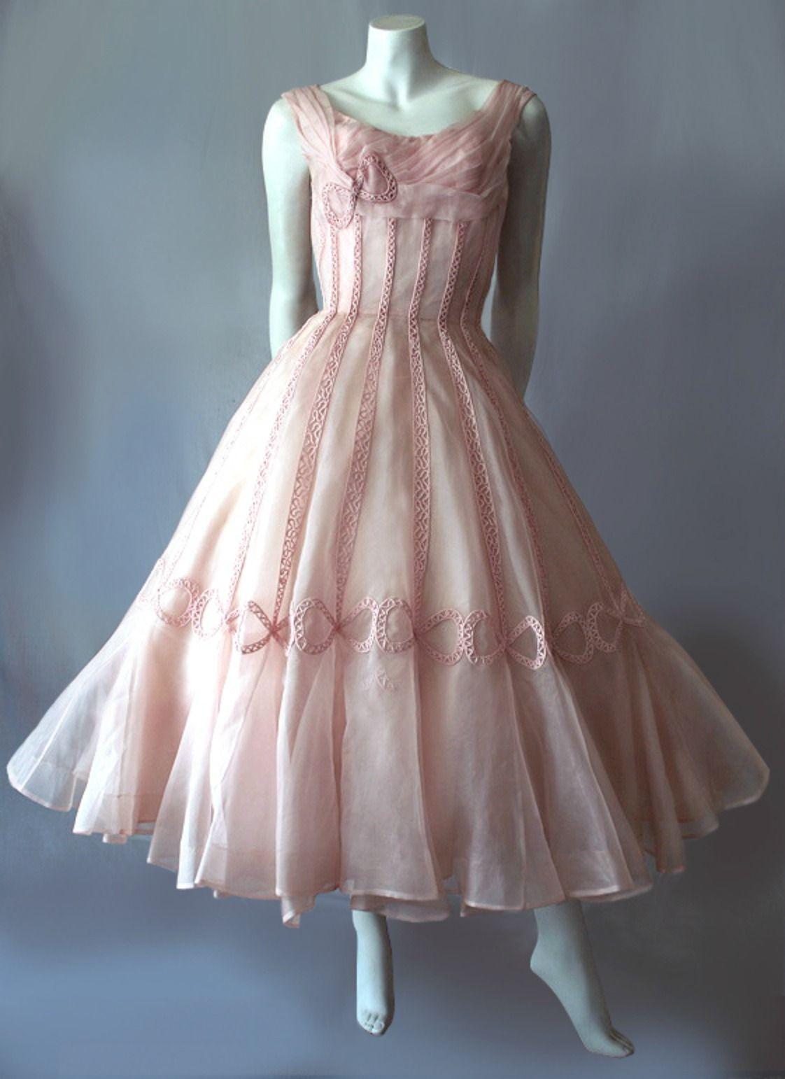 1950 S Pink Ceil Chapman Formal Dress Vintage Dresses Vintage 1950s Dresses Pink Cocktail Dress