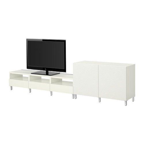 IKEA - BESTÅ, Tv-/säilytyskokonaisuus, Laxviken valkoinen,