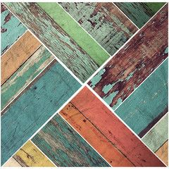 Wall Decal Vintage Colors Faux Wooden Panels