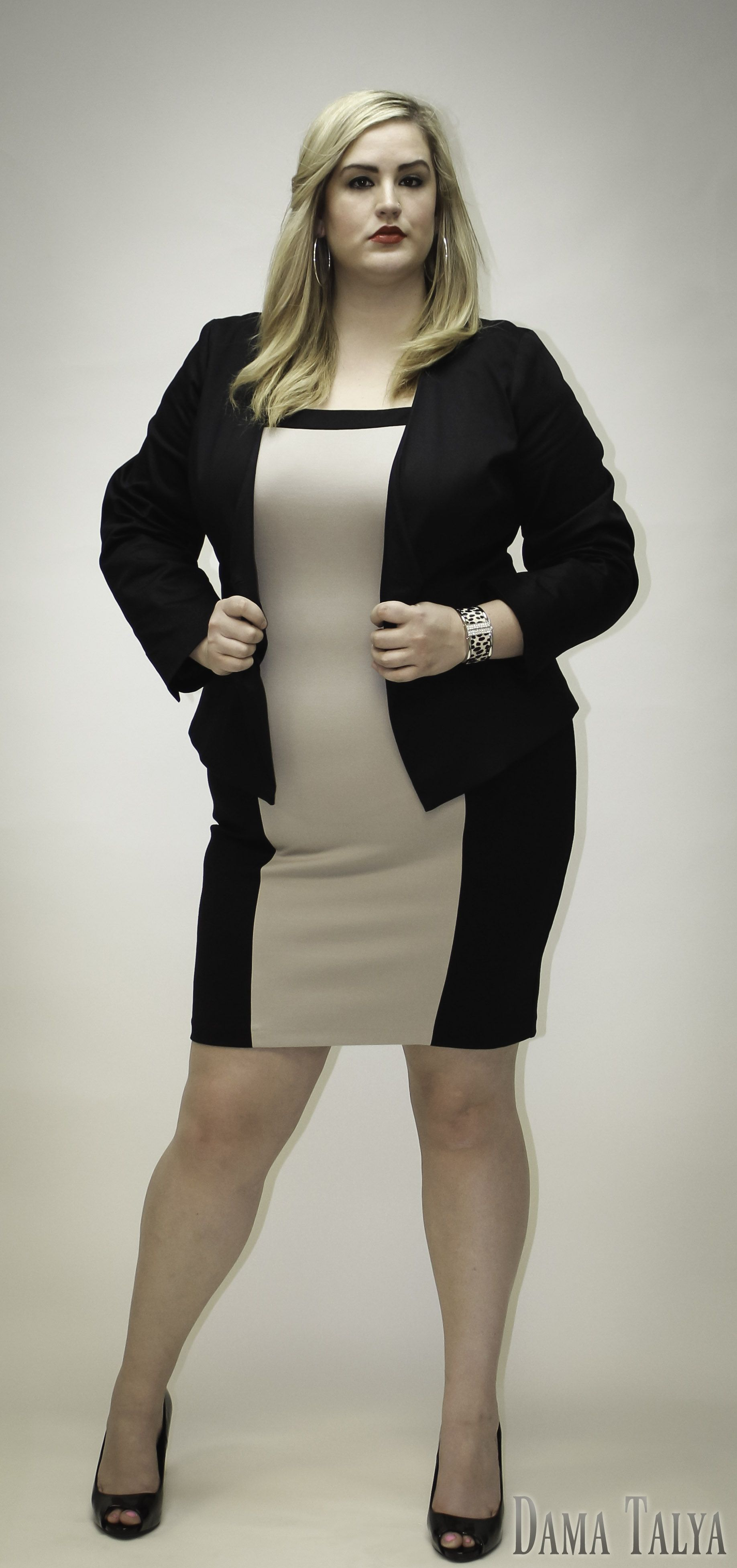 Dama Talya Plus Size Clothing Fitted Colorblock Dress And