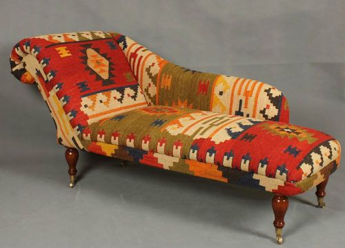 Handwoven Wool Kilim Chaise Longue Armchair Sofa Chair Patchwork Patchwork Chair Upholstery Furniture