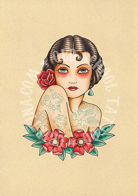 the tattooed woman old school tattoo by crixtina old school tattoo pinterest tattoo. Black Bedroom Furniture Sets. Home Design Ideas
