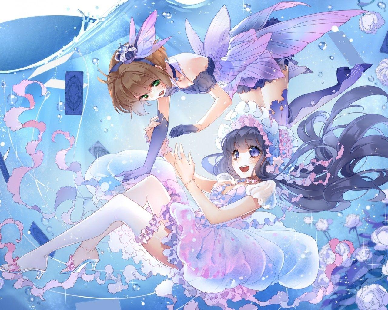 Download 1280x1024 Card Raptor Sakura Kinomoto Sakura Dress Daidouji Tomoyo Wallpapers Wallpapermaiden Cardcaptor Sakura Cardcaptor Sakura