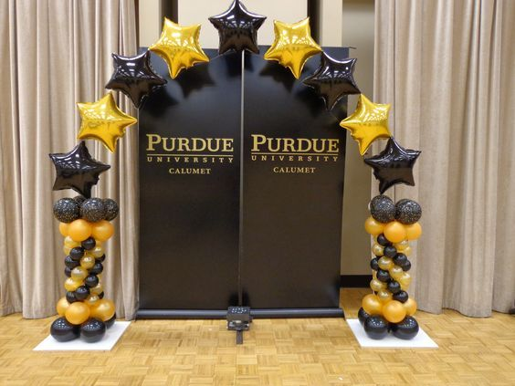 Black And Gold Star Arch Prom Balloons Graduation Balloons