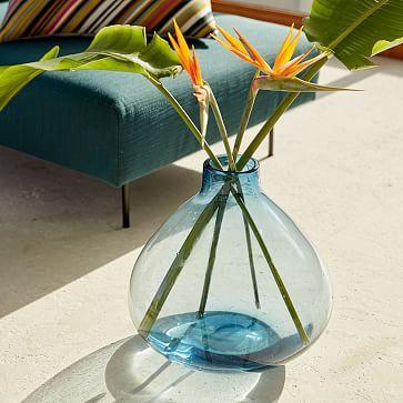 Oversized Glass Vase Colored Glass Vases Blue Glass Vase Glass Vase