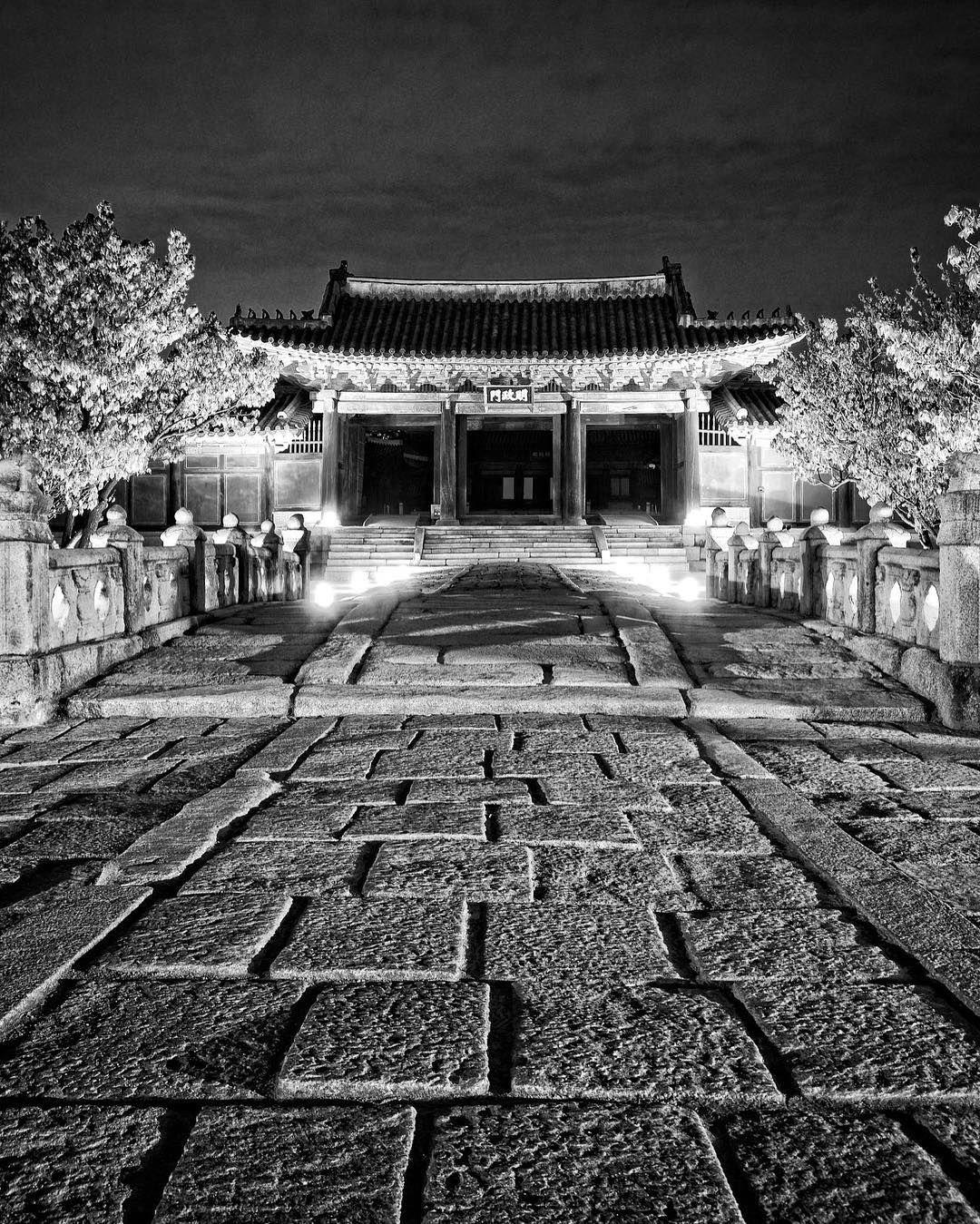 Light vs Darkness at Changdeok Palace's gate. #blackandwhite #monochrome #palace #korea #travel #night #nighttours #dark #light #life #history #seoul #bigcityseoul #iseoulu #history #historical #peaceful #urban #changdeokgung #창덕궁 #서울 #서울시 #여행