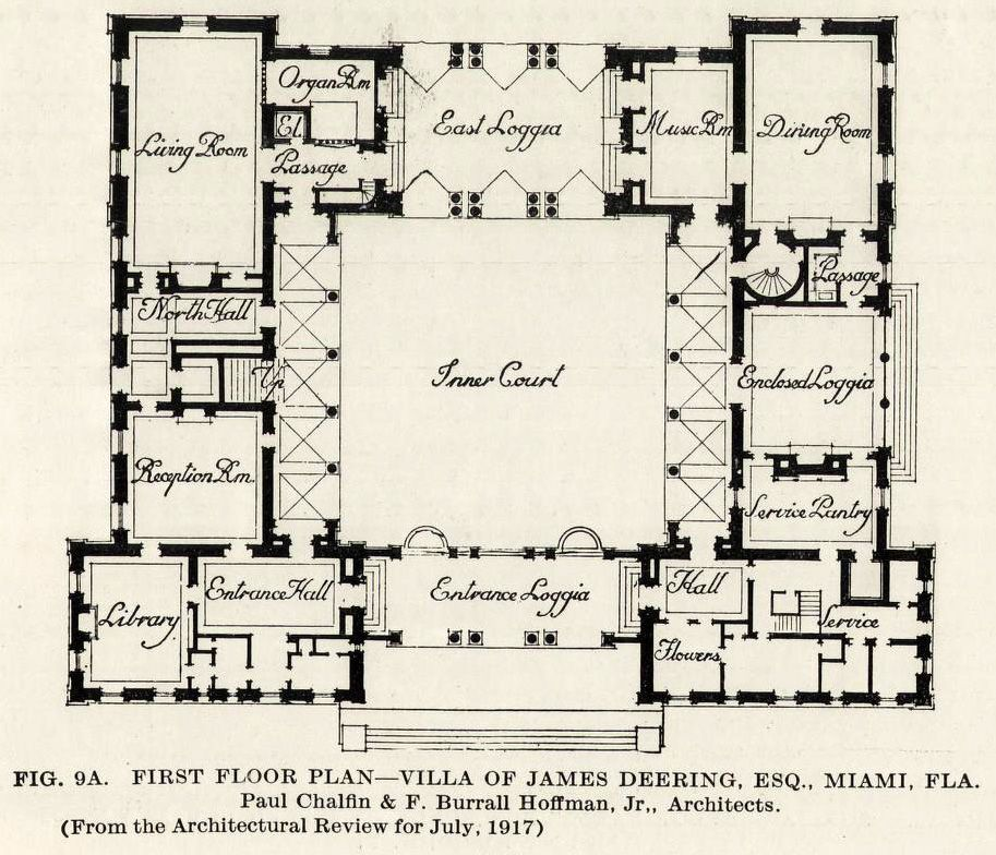 The Floor Plan Of Vizcaya The James Deering Esq Mansion Miami Florida Archi Maps Ph Courtyard House Plans Mediterranean House Plans U Shaped House Plans