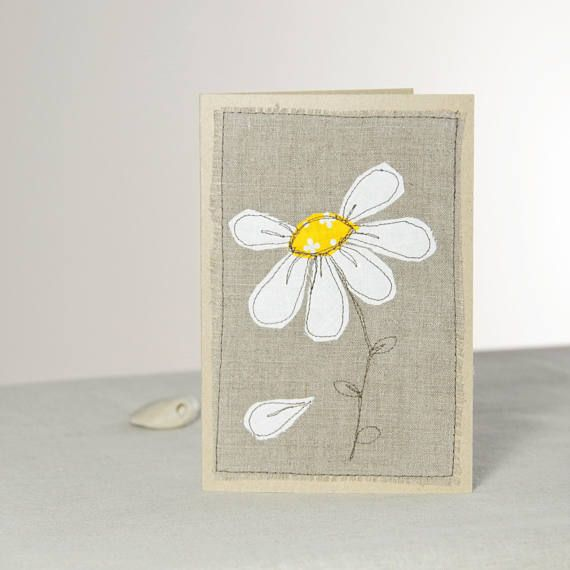 Flower Greeting Card / Fabric Card / Birthday Greeting Card / Nature Lover Gift / Embroidered Card #flowerfabric