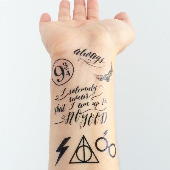 Mini Harry Potter Temporary Tattoos Harry Potter Symbols Harry Potter Etsy Harry Potter Tattoos