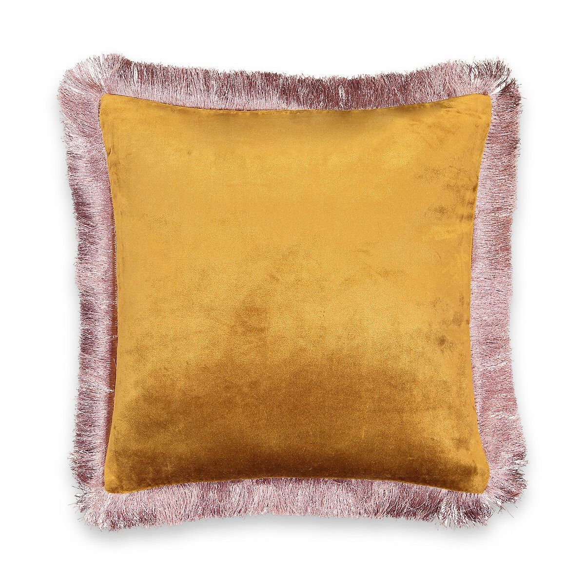 The astana velvet cushion cover. Pair it with other printed or plain cushions for a sophisticated atmosphere!product details: •  velvet 53% viscose, 47% cotton •  finished with contrast fringes, 100% polyester •  zip fastening at the backdesigned for the terra range of cushion pads, available online..dimensions : •  45 x 45cm