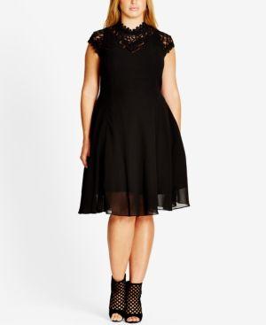 c74ccfd4f45b6 City Chic Plus Size High-Neck Illusion Fit   Flare Dress - Black 22W ...
