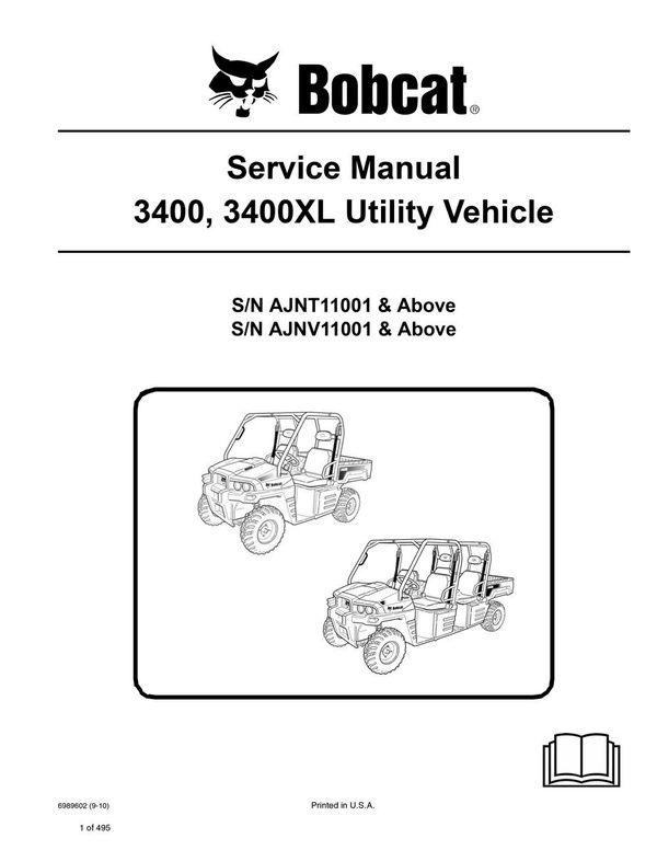 bobcat 3400 3400xl utv service repair manual pdf s n ajnt ajnv