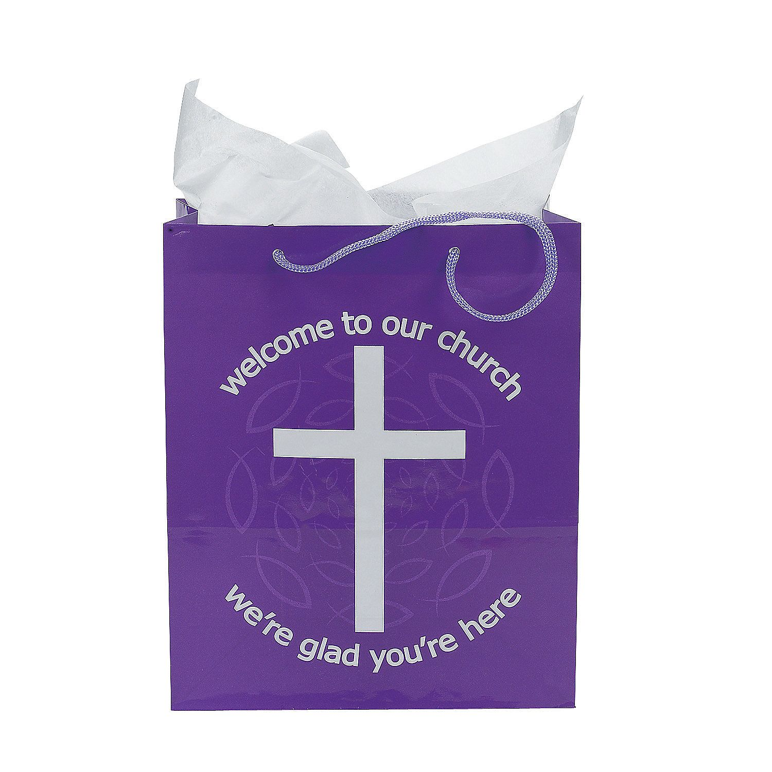 Medium purple welcome to our church gift bags churches bag and welcome to our church bags orientaltrading i ordered some of these kristyandbryce Images