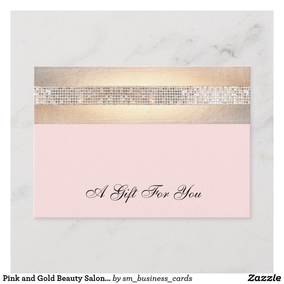 Pink and Gold Beauty Salon Gift Certificate  Zazzle.com  Salon
