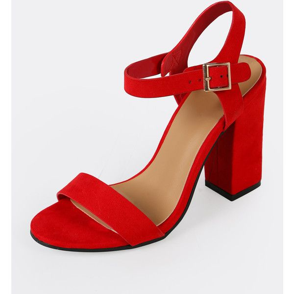 Red suedette peep toe high block heel court shoes xFSyj6g6g
