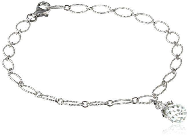 "Amazon.com: Sterling Silver African Amethyst Briolette Charm Bracelet, 7.25"": Necklace Set: Jewelry"