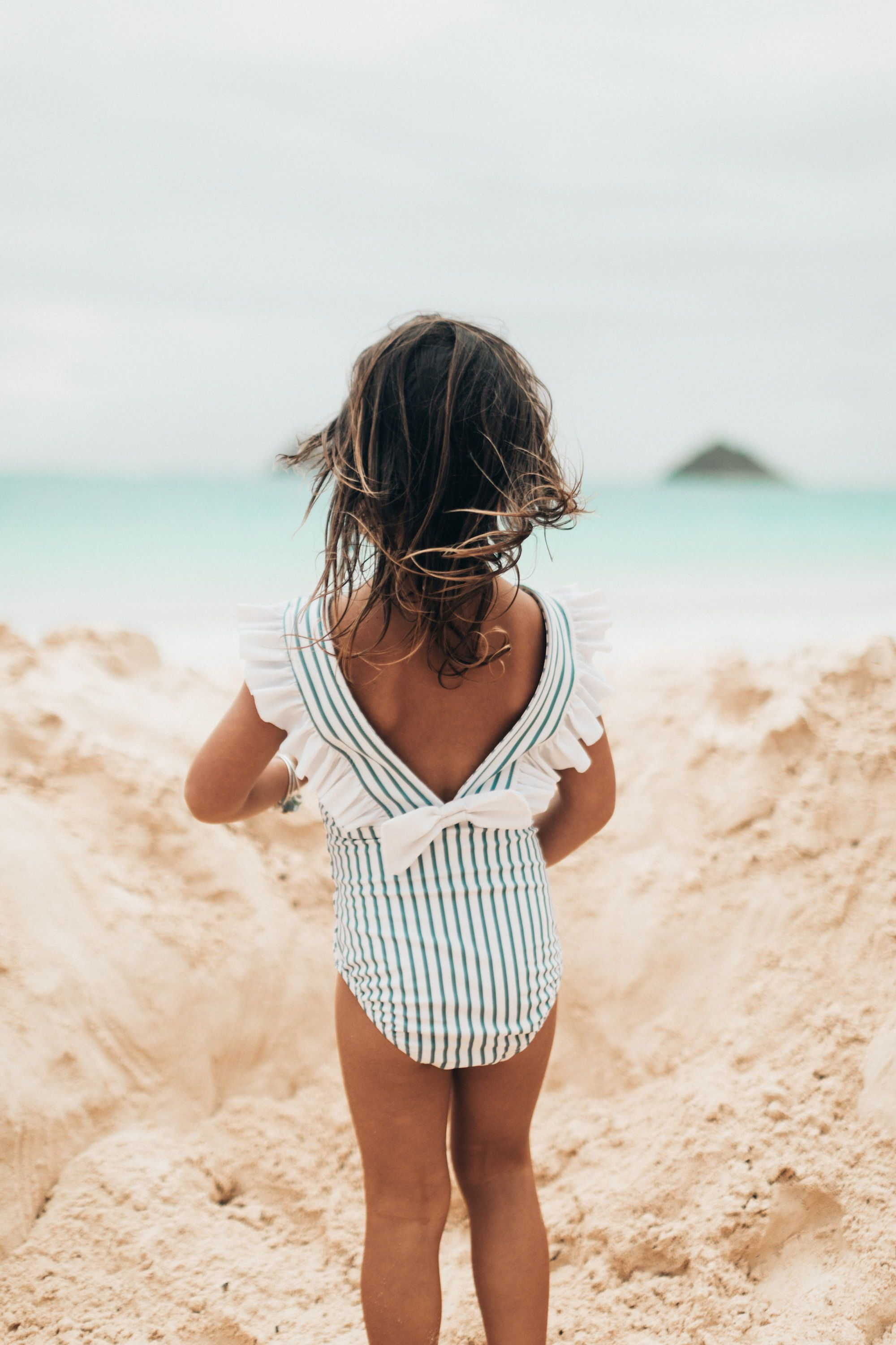 1fae1112a3b KIDS SWIMSUITS! Everyone's favorite Breezy Stripe print in a MINI Ruffle  One Piece Swimsuit! The feminine stripes combined with the fun ruffle and  bow, ...