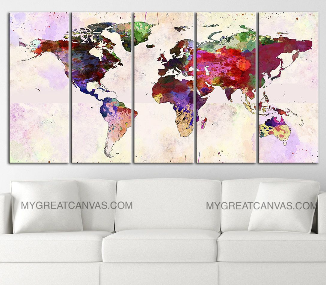Large wall art canvas print colorful world map paint splash world large wall art canvas print colorful world map paint splash world ma gumiabroncs Image collections