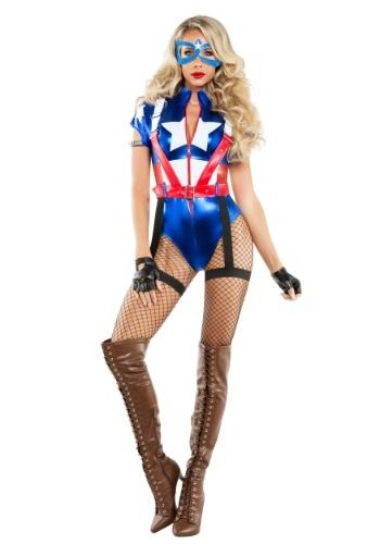 This Women s Captain USA Costume will give your a patriotic superhero look  that s sure to save the day. 93ae4f7a9